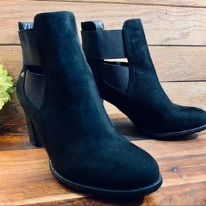 Attention Black Faux Suede Booties Size 7
